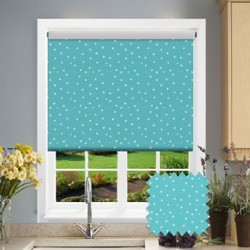 Turquoise Triangle Patterned Roller Blind in Pico Turquoise